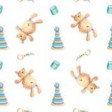 Ursos de peluche e teste padrão de madeira dos brinquedos ilustração stock