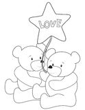 Ursos de peluche que colorem a página ilustração royalty free