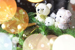 Ursos do brinquedo da árvore do ano novo Imagem de Stock