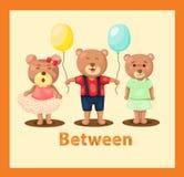 Ursos dos desenhos animados com vocabulário no meio Fotografia de Stock Royalty Free