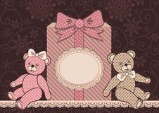 Ursos e presente de peluche Fotografia de Stock