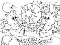 Ursos engraçados com balões Fotos de Stock Royalty Free