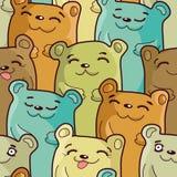 Ursos engraçados - teste padrão sem emenda Fotos de Stock Royalty Free