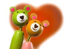 Ursos isolados do amante com coração imagem de stock royalty free
