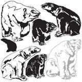 Ursos polares no lavados acima da baleia de esperma ilustração do vetor