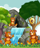 Ursos que relaxam pela cachoeira ilustração royalty free