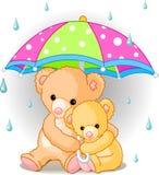 Ursos sob o guarda-chuva ilustração stock