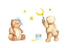 Ursos sonolentos da aquarela Imagem de Stock Royalty Free