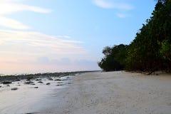Ursprünglich und Serene White Sandy und Rocky Beach mit Küstenplantage - Kalapathar, Havelock, Andaman - natürlicher Hintergrund lizenzfreie stockfotos