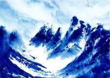 Ursprüngliche Aquarellmalerei - wundert sich von der Welt - Himalaja vektor abbildung