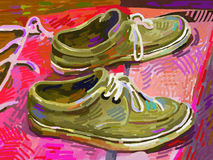 Ursprüngliche digitale Malerei, Schuh auf einem Teppich Stockfoto