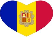 """Ursprüngliche Flaggenikone im Herz †""""Andorra Stockbild"""