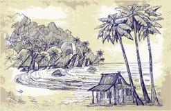 Ursprüngliche Hand gezeichnete Abbildung von Meer Stockfotografie