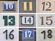 Ursprüngliche Hausnummern 10 bis 18 Stockbild