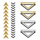Ursprüngliche, kreative und schöne Pfeile, welche die Richtung anzeigen Volumen und flache Pfeile dreiecke Stockbild