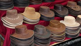 Ursprüngliche lederne Hüte in Australien Lizenzfreie Stockbilder