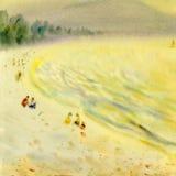 Ursprüngliche Malerei des Aquarellmeerblicks bunt vom Familienurlaub lizenzfreie stockfotos