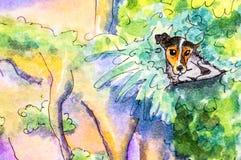 Ursprüngliche Malerei eines Hundes, der in den Büschen liegt Stockfotos