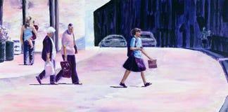 Ursprüngliche Malerei von den Leuten, die eine Straße im Sommer kreuzen Lizenzfreies Stockbild