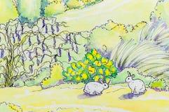Ursprüngliche Malerei von zwei weißen Kaninchen draußen vektor abbildung