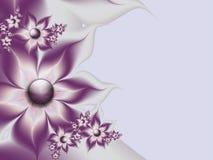 Ursprüngliche mit Blumenschablone mit Platz für Text Purpurroter Hintergrund Stockfotografie