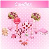 Ursprüngliche Süßigkeitsbäume auf einem rosa Punkthintergrund lizenzfreie abbildung