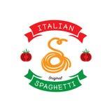 Ursprüngliche Spaghettis mit s-Buchstabetypographiedesign und -tomate Stockfoto