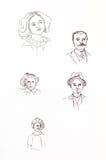Ursprüngliche Tintenstrichzeichnungen Sammlung Weinleseporträts Stockbilder