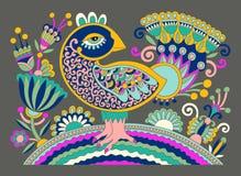 Ursprüngliche ukrainische Hand gezeichnetes ethnisches dekoratives Muster mit bir Stockfotos