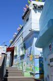 Ursprüngliche und bunte Gebäude in Pusan, Südkorea stockbilder
