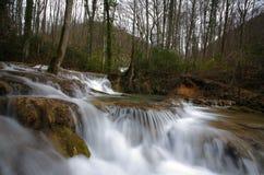 Ursprüngliche Wasserfälle im Wald im Frühjahr Lizenzfreies Stockbild