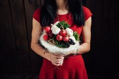 Ursprünglicher Blumenstrauß des Gemüses und der Früchte Stockfotografie