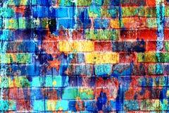 Ursprünglicher bunter psychedelischer Regenbogenhintergrund Makronahaufnahmewand, gemalt der alten Farbe Stockfotos