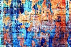 Ursprünglicher bunter psychedelischer Regenbogenhintergrund Makronahaufnahmewand, gemalt der alten Farbe Stockbild