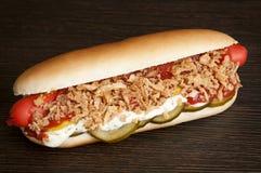 Ursprünglicher dänischer Hotdog Stockfoto