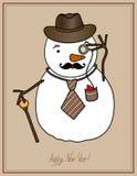 Ursprünglicher Hippie-Schneemann in einem Hut, Bindung, Schnurrbart vektor abbildung