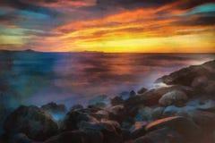 Ursprüngliches Ölgemälde des abstrakten Sonnenuntergangs über dem Wasser Stockfotografie