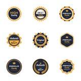 Ursprüngliches Produkt Weinlese-Retro- Ausweis-Logo Template Premium Quality Authentics lizenzfreie abbildung