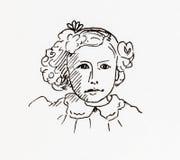Ursprüngliches Tinte Federzeichnung Porträt eines Edwardian-Mädchens Lizenzfreies Stockfoto