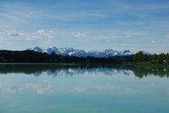 Urspringer Lechsee and Alps, Germany Royalty Free Stock Image