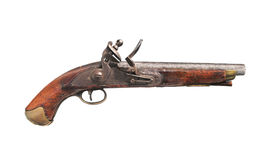 Ursprüngliche britische Flintlockpistole getrennt Stockfoto
