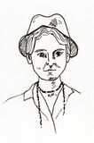 Ursprüngliches Tinte Federzeichnung Porträt von zwanziger Jahre Frau Lizenzfreie Stockbilder
