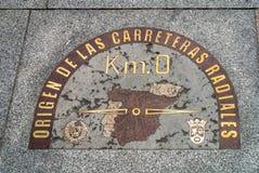 Ursprung Km Radiella vägar 0 i Madrid, Spanien Arkivbild