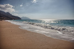 Ursprunglig strand nära Bukha, i den Musandam halvön, Oman Royaltyfria Foton
