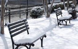 Ursprungliga snö-täckte bänkar Arkivbild