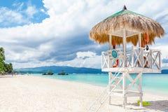 Ursprungligt vatten och vitsand i Boracay Fotografering för Bildbyråer