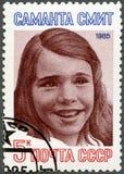 URSS - 1985: muestra el retrato de Samantha Smith de lámina imagen de archivo