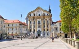 Ursuline教会,卢布尔雅那,斯洛文尼亚 库存照片