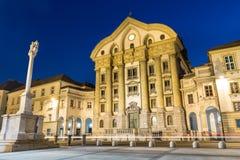 Ursuline教会,国会正方形,卢布尔雅那,斯洛文尼亚。 库存照片