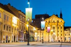 Ursuline教会,国会正方形,卢布尔雅那,斯洛文尼亚。 免版税图库摄影